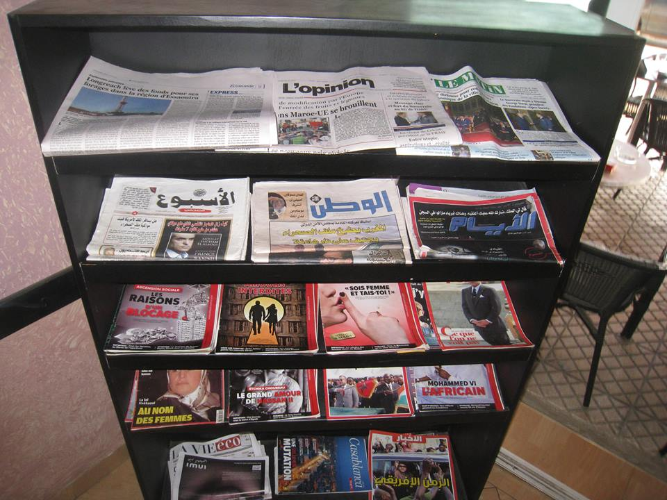 A mini Library that contains newspapers and magazines in café Salim in Salé