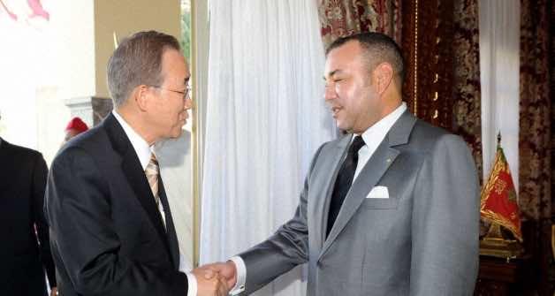 King Mohammed VI of Morocco receiving UN Secretary General Ban Ki-moon