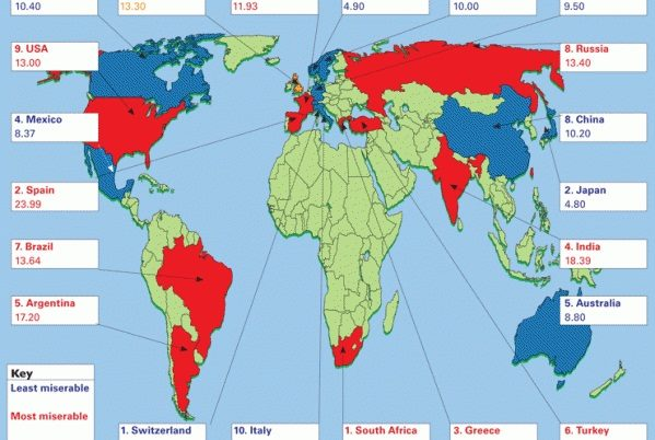 Map of the World's most miserable countries