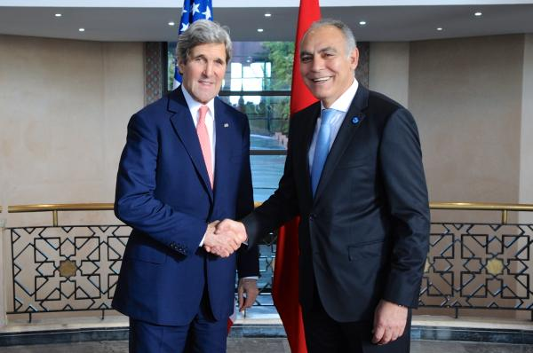 Moroccan Foreign Minister Greets Secretary Kerry Before Strategic Dialogue in Rabat (Photo courtesy US State Department)