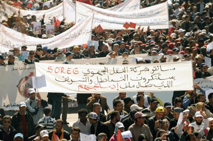 Morocco, Thousands Take to the Street to Protest Austerity Plans (Getty images)