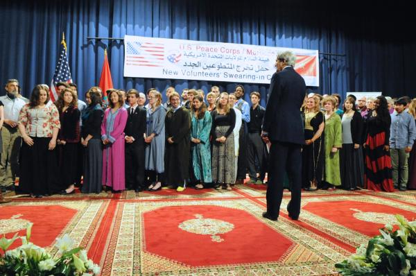 Secretary Kerry Addresses Peace Corps Volunteers in Morocco (Photo courtesy, US Department of State)