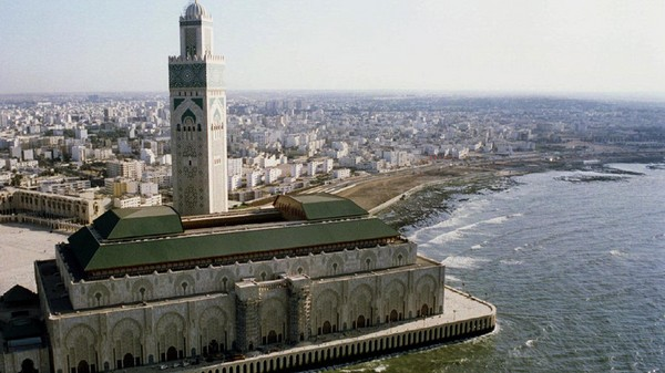 Aerial view of King Hassan II mosque of Casablanca August 27. The mosque, built on land gained from ..