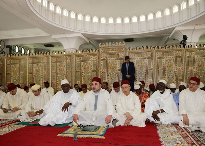 King Mohammed VI During Friday Prayer in a Mosque