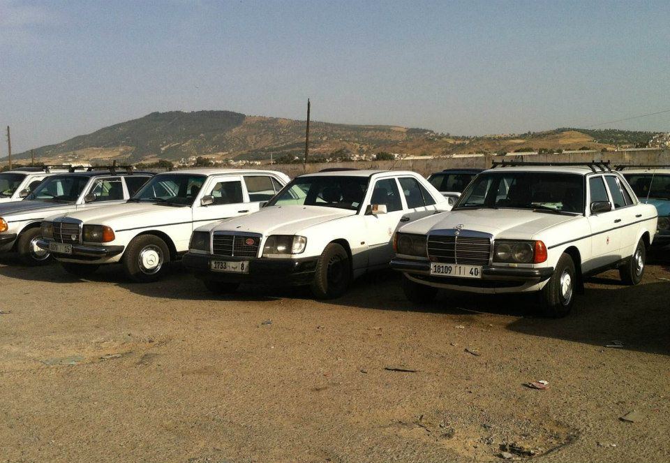 The Mercedes w123s (often 240Ds) Grand Taxis in Morocco. Photo by Morocco World News