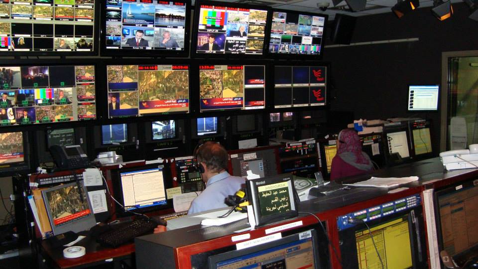 Control room of Arabic-language satellite TV channel Alhurra