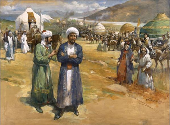 Islamic mystic Ibn Battuta visiting Mongols. (Illustration by Burt Silverman, National Geographic)