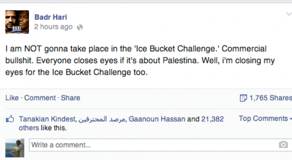 Badr Hari refuses to take up ice bucket challenge