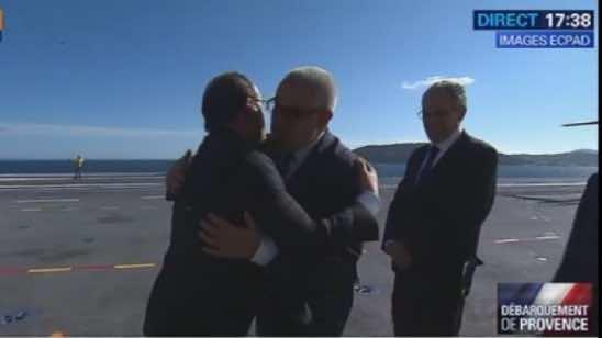 Morocco's Head of government Abdelilah Benkirane greeting French President Francois Holland