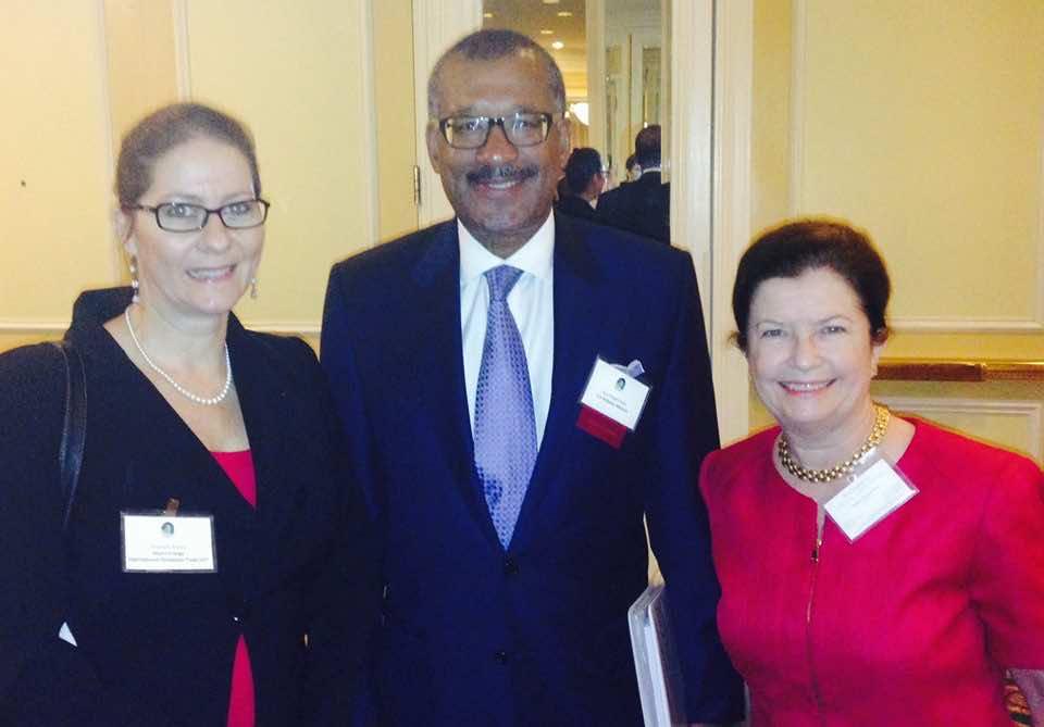 U.S. Ambassador Dwight Bush, Kathleen Mistry, and Elisabeth Myers