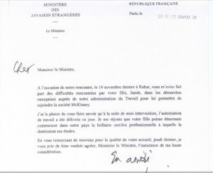 Fake letter allegedly sent by Laurent Fabius to Moroccan Foreign Minister Salah Eddine Mezouar