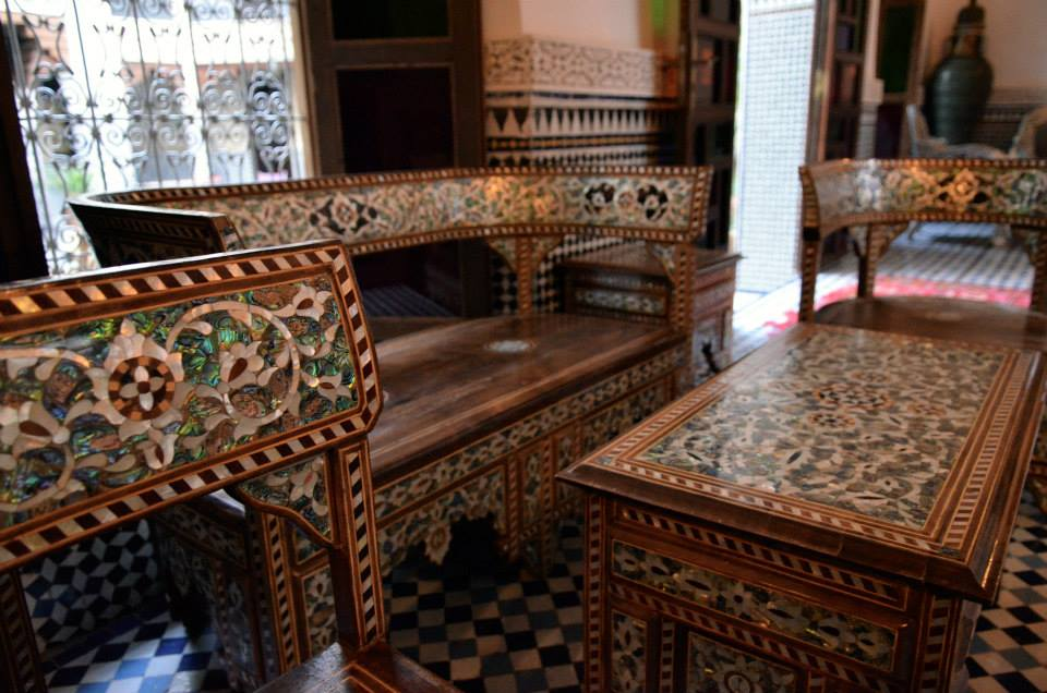 Arabisc wooden Mosaic, Moroccan style. Fez Riad Yakout Morocco