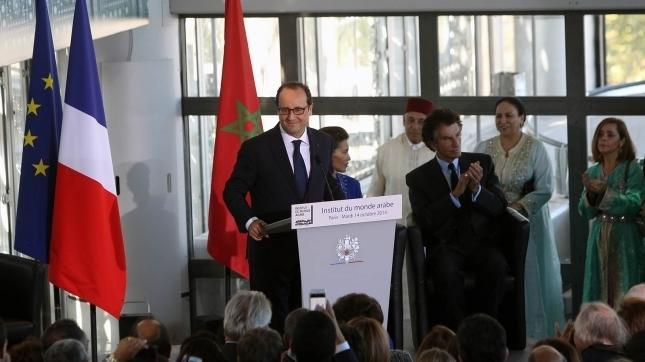 French President Francois Hollande during the inauguration of the exhibition Contemporary Morocco at the Arab World Institute