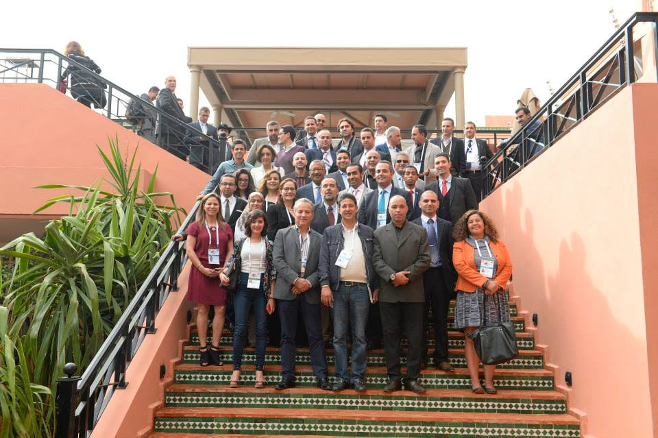 A group picture of the Association of Moroccan Professionals in America (AMPA) with U.S. Ambassador to Morocco Mr. Dwight Bush in Marrakech at the sidelines of the GES 2014