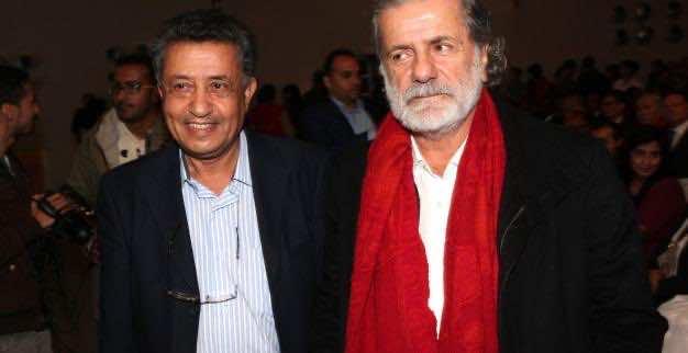 Marcel Khaliafa posing with Salah El Ouadi, the head of Damir Movement