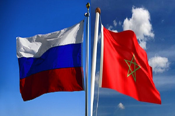 Moroccan and Russian flags