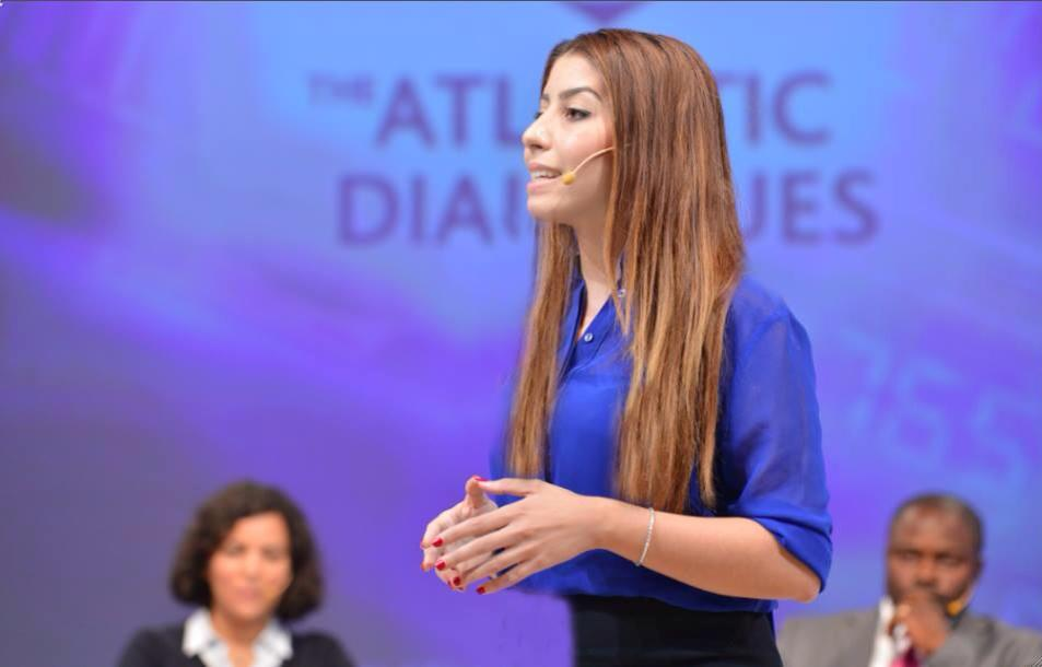 Lamia Bazir during her speech at the Atlantic Dialogue held in Marrakech