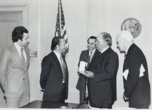 Ambassador of Morocco in 1977 greets Chicago Mayor Richard J. Daley