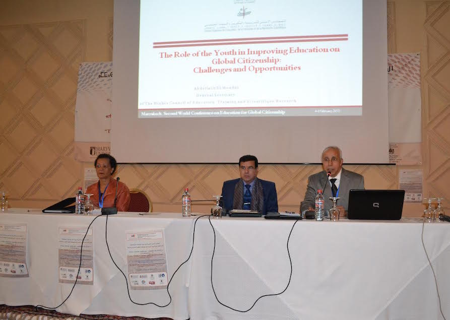 Dr. Marie Josée Berger, Dean of the School of Education, Bishop's university, Canada ; Dr. Abdellatif Elmoudni, Secretary General of the Higher Council for Education, Training and Scientific Research: Dr. Elarbi Imad, President, Moroccan Center for Civic Education (Left to right)