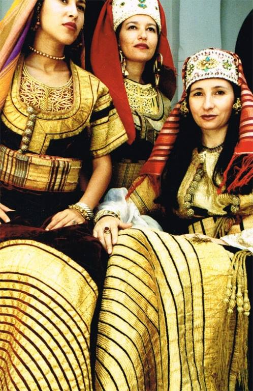 Young women from Tangier in ceremonial costume in 1980