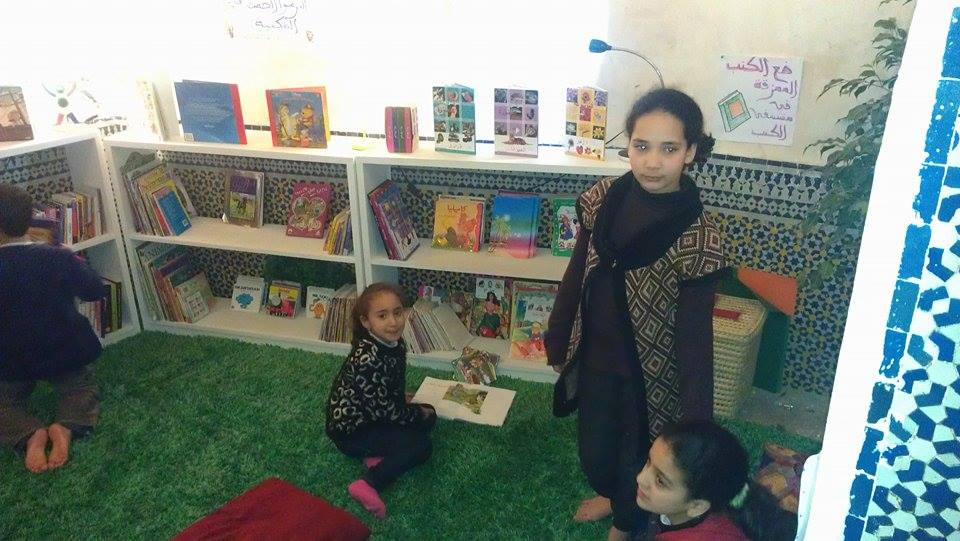 The Medina Children's Library in Fez. Moroccan Children reading