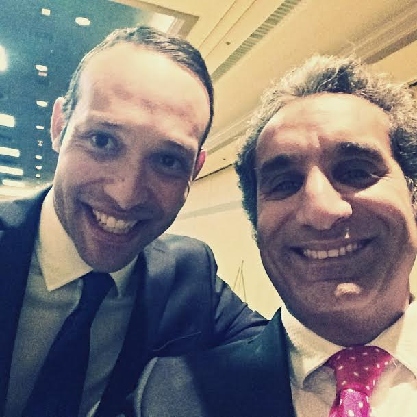 Driss Sekkat with the Egyptian Bassem Youssef