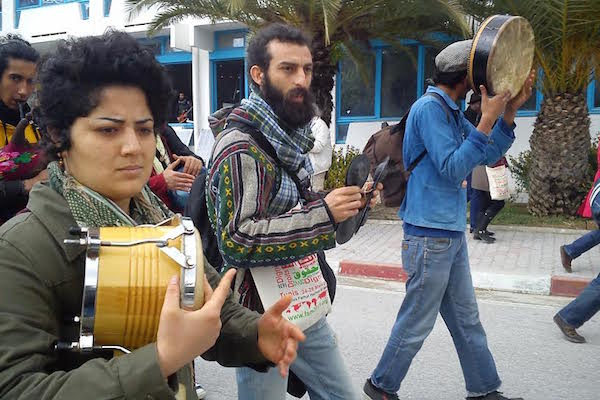 Tunisian youth during a demonstration