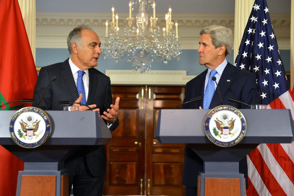 US Secretary of State, John Kerry, and his counterpart Moroccan Foreign Minister, Salaheddine Mezouar in a press conference in Washington