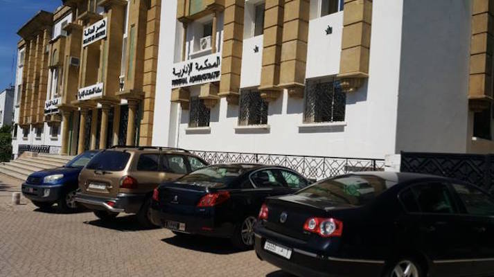 Cars occupy illegally the sidewalk near the Administrative Tribunal in Hassan, Rabat (Photo: Dr. Mohamed Chtatou)