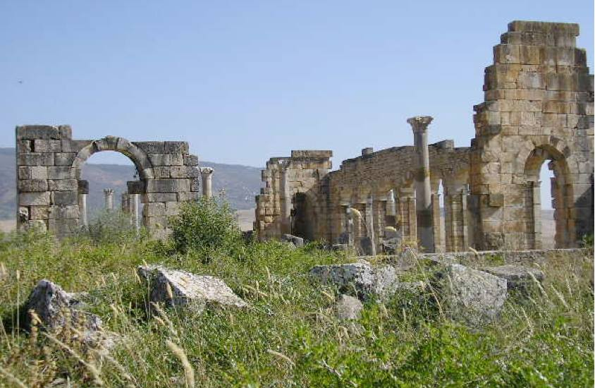 The ruins of Volubilis. A portion of the Capitoline temple can be seen at left. Photograph courtesy of author.