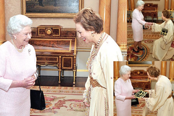 Queen Elizabeth II greeting HRH Lalla Joumala as the Ambassador of the Kingdom of Morocco to Great Britain and Northern Ireland on February 2009