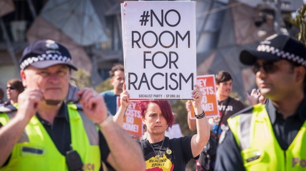 Anti racism activists clash with Victoria Police and anti Islam protesters
