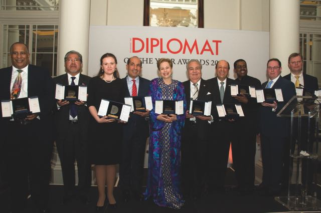 Lalla Joumala with other recipients of the Diplomat awards