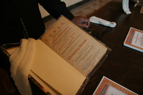 President Thomas Jefferson's copy of the Quran on display for guests attending the White House Iftar. (Photo by Jill DeWitt of the Curator's Office)