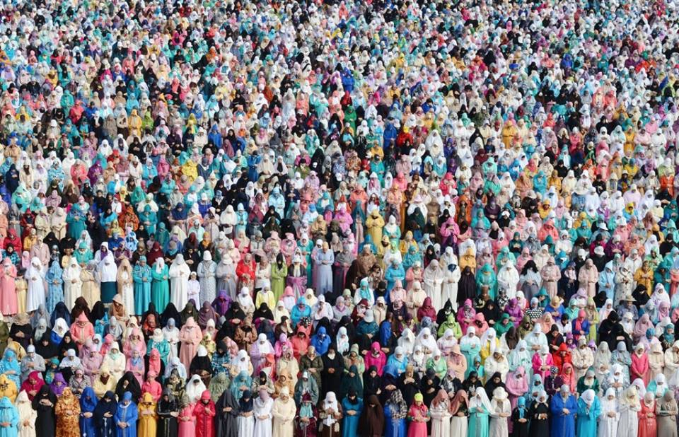 Women performing Eid al Fitr prayer in Sale, Morocco