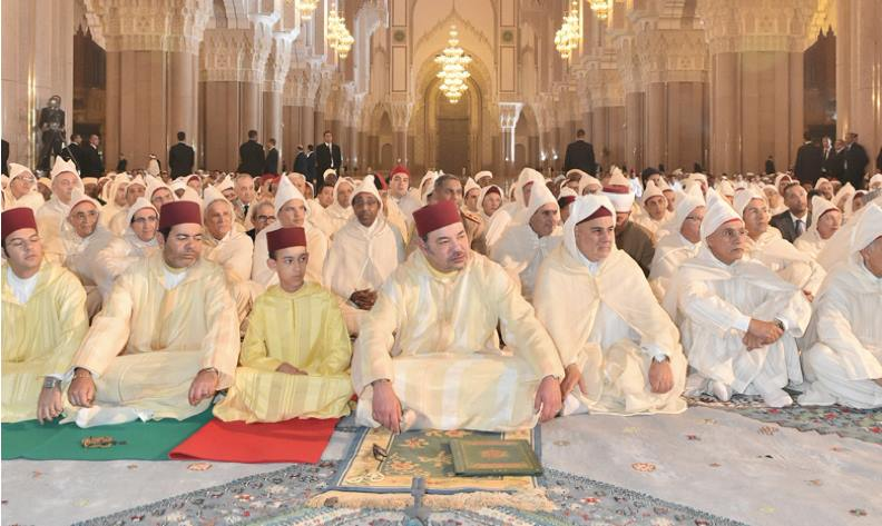 King Mohammed VI leading 2015 Ramadan prayers in Hassan II mosque in Casablanca