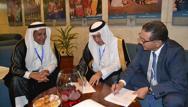 Moroccan Minister of Economy and Finance Mohammed Boussaid and the Saudi Fund for Development Vice President and Board Member Yousif bin Ebrahim Al Bassam
