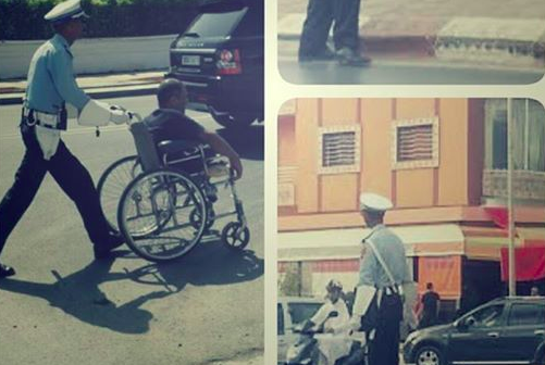 Moroccans Honor a Traffic Policeman in Sale