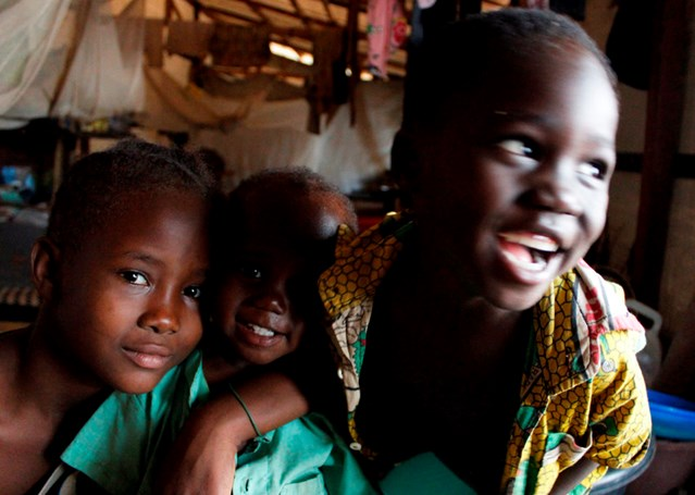Displaced children living in the Central Mosque in the PK5 Muslim enclave in Bangui, Central African Republic