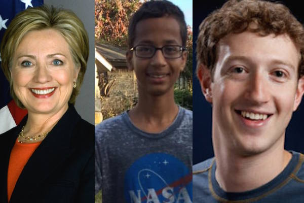 Hillary Clinton and Facebook's CEO Support the Arrested Muslim Student