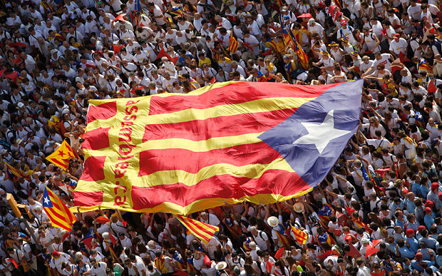 Thousands march for independence on Catalan National Day