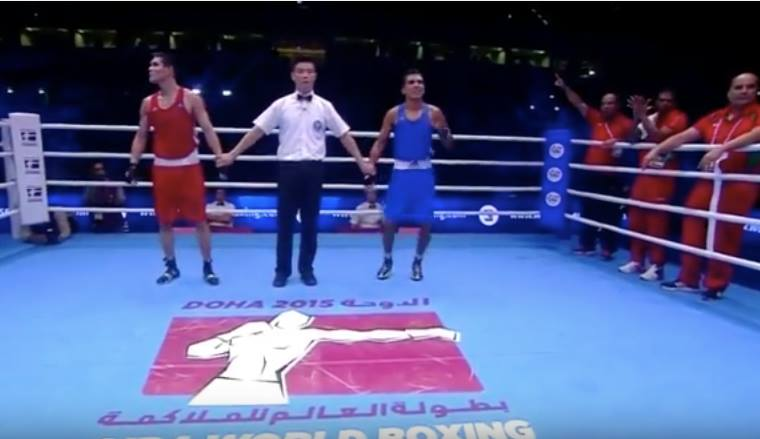Mohammed Rabii Vs Daniyar Yeleussinov on AIBA World Boxing in Doha