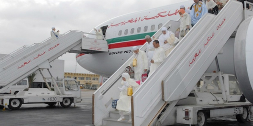 Moroccans coming from the Hajj in Saudi Arabia. Royal Air Maroc