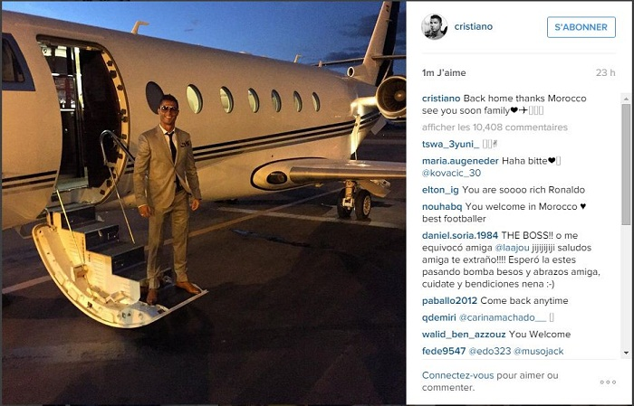 He posted a picture of himself standing near his private jet in Marrakech and wrote in the caption: ''Back home. Thanks Morocco. See you soon family. ''