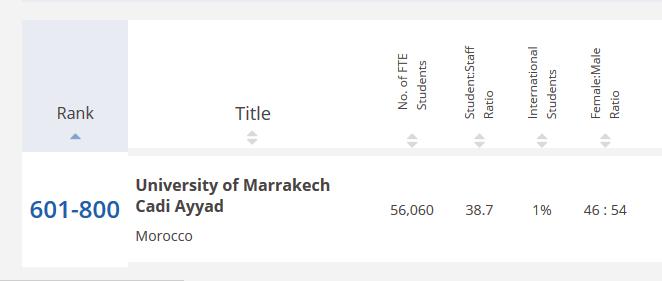 Moroccan University statistics