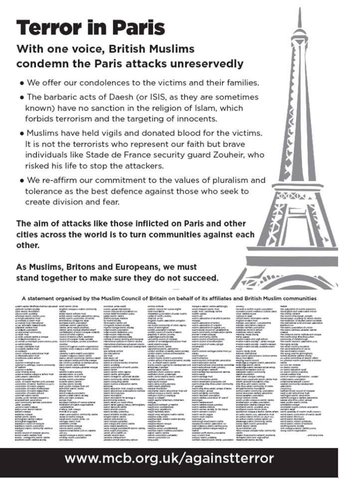 Muslim Organisation in UK Takes out an Advert to Condemn the attacks in Paris