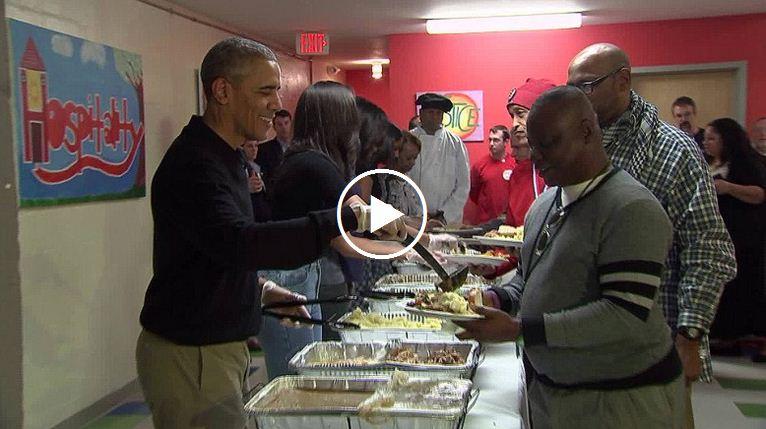 Obama serving thanksgiving dinner