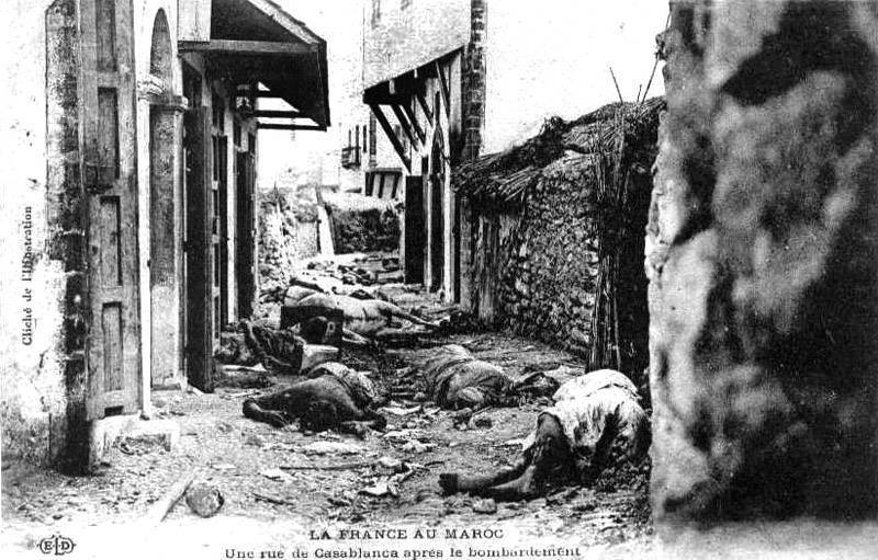 A street in casablanca after the French bombardment