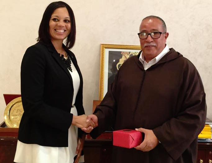 Angie M. Gates with the president of Marrakech- Safi region Ahmed Akhchichine