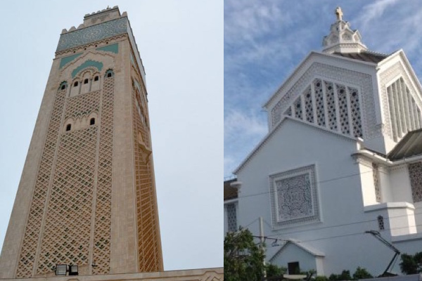 Mosque Hassan II and the Rabat Church
